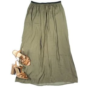 Old Navy Flowy Olive Green Maxi Skirt